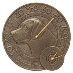 Whitehall Labrador Clock Thermometer French Bronze
