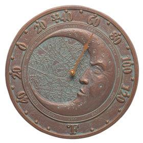 Whitehall Moon Thermometer Copper Verdigris