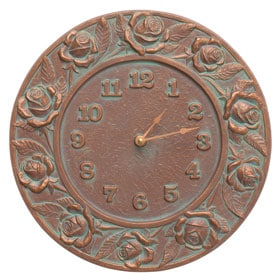 Whitehall Rose Clock Copper Verdigris