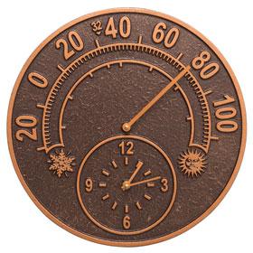 Whitehall Solstice Clock Thermometer Antique Copper