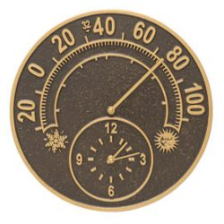 Whitehall Solstice Clock Thermometer French Bronze