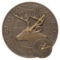 Whitehall Deer Clock Thermometer French Bronze
