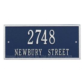 Whitehall Hartford Address Plaque Blue Silver