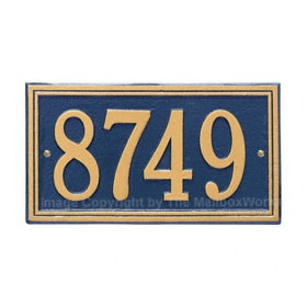 Whitehall Double Line Plaque Blue Gold