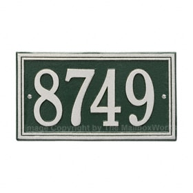 Whitehall Double Line Plaque Green Silver