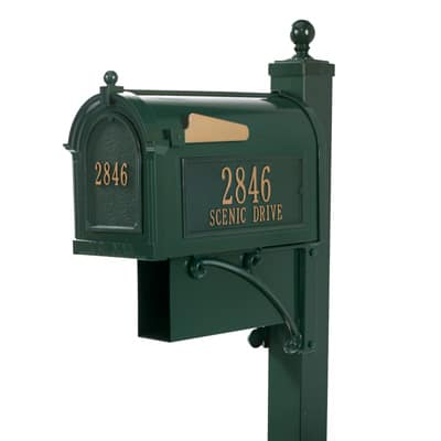 Whitehall Estate Mailbox Package Green Gold