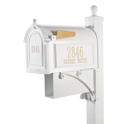 Whitehall Estate Mailbox Package White Gold