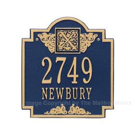 Whitehall Monogram Address Plaque Blue Gold