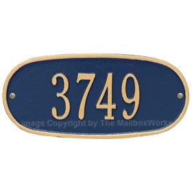 Whitehall Oval Address Plaque Blue Gold