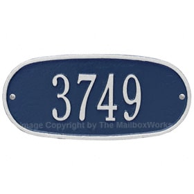 Whitehall Oval Address Plaque Blue Silver