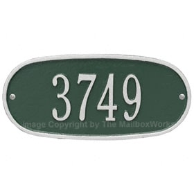 Whitehall Oval Address Plaque Green Silver