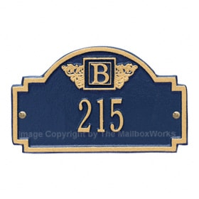Whitehall Petite Monogram Plaque Blue Gold