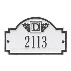 Whitehall Petite Monogram Plaque White Black