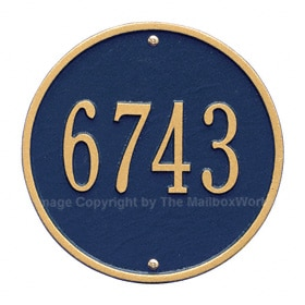 Whitehall Round Address Plaque Blue Gold