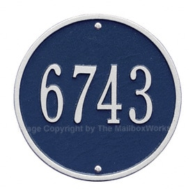 Whitehall Round Address Plaque Blue Silver