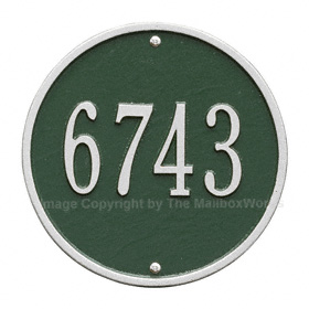 Whitehall Round Address Plaque Green Silver