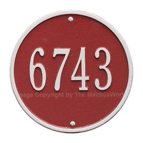 Whitehall Round Address Plaque Red Silver