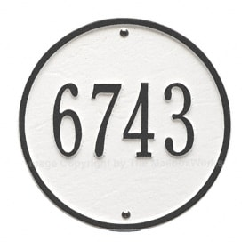 Whitehall Round Address Plaque White Black
