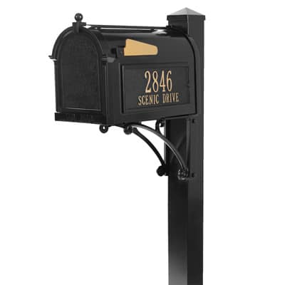 Whitehall Superior Mailbox Package Black Gold