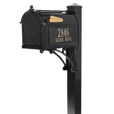 Whitehall Superior Mailbox Package Black Gold