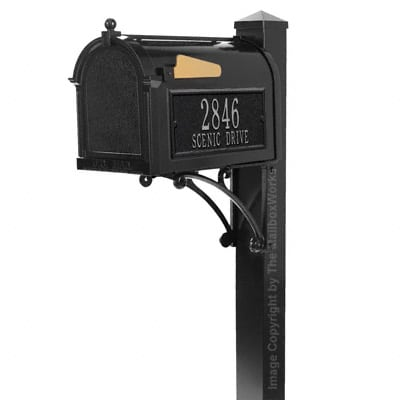 Whitehall Superior Mailbox Package Black Silver