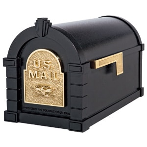 Eagle Keystone Mailbox Black Polished Brass