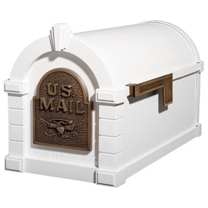Eagle Keystone Mailbox White Antique Bronze