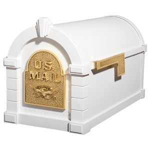 Eagle Keystone Mailbox White Polished Brass