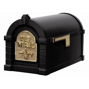 Fleur Keystone Mailbox Black Polished Brass