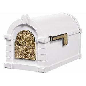 Fleur Keystone Mailbox White Polished Brass