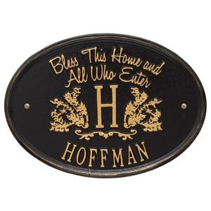 Whitehall Bless Home Monogram Black Gold