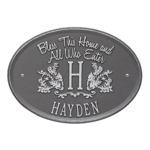 Whitehall Bless Home Monogram Pewter Silver
