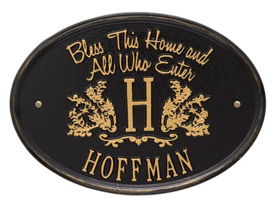 Whitehall Bless This Home Monogram Oval Plaque
