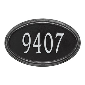 Whitehall Concord Oval Plaque Black Silver