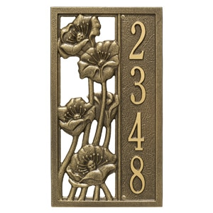 Whitehall Flowering Poppies Plaque Antique Bronze