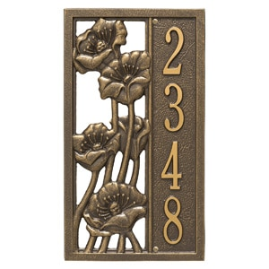 Whitehall Flowering Poppies Plaque Bronze Gold