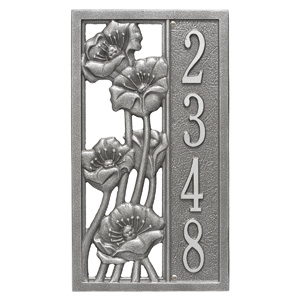 Whitehall Flowering Poppies Plaque Pewter Silver
