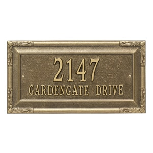 Whitehall Gardengate Address Plaque Antique Bronze