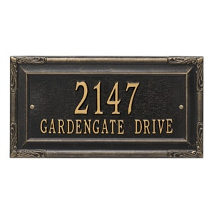 Whitehall Gardengate Address Plaque Black Gold