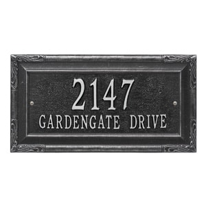 Whitehall Gardengate Address Plaque Black Silver