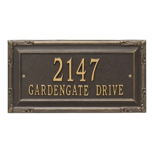 Whitehall Gardengate Address Plaque Bronze Gold