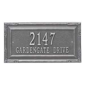 Whitehall Gardengate Address Plaque Pewter Silver
