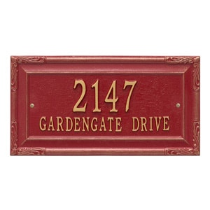 Whitehall Gardengate Address Plaque Red Gold