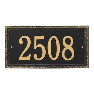 Whitehall Mason's Rectangle Plaque Black Gold