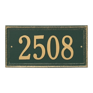 Whitehall Mason's Rectangle Plaque Green Gold