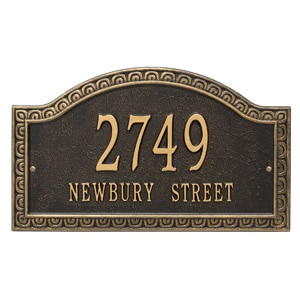 Whitehall Penhurst Address Plaque Black Gold