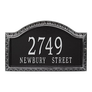 Whitehall Penhurst Address Plaque Black Silver