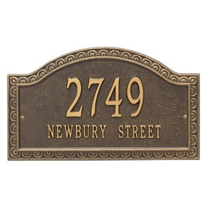 Whitehall Penhurst Address Plaque Bronze Gold