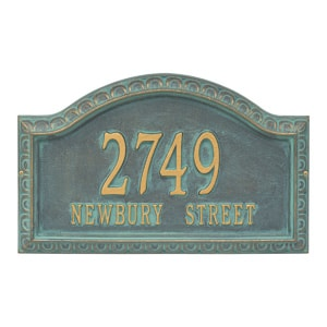 Whitehall Penhurst Address Plaque Bronze Verdigris