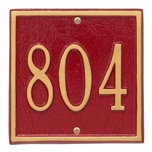 Whitehall Petite Square Plaque Red Gold